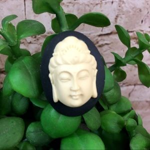 Blk. & Cream Buddha Cameo Adjustable Ring